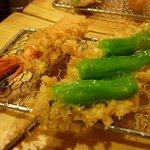 名代 串揚げ 松葉 - 海老とシシトウ
