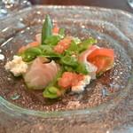 69708297 - 2017/07 鯛とバジルのマリネ 京都産トマトのカプレーゼ THE CHEF ランチ(2,800円)