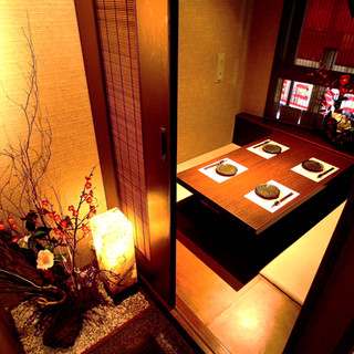 個室完備◆洗練された空間でゆっくりとお食事をお楽しみください