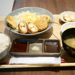 串揚げと和食 もりもと  - 特選日替わり揚げもの 盛り合わせ御膳¥950