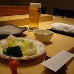 6973077 - 温野菜とビール、おいしそうにうつせたかなあ