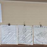 もつ煮屋 日の出食堂 - 店内に表示されている各種色紙。