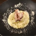 69755597 - おから入り蒟蒻麺のカルボナーラ