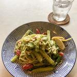 プリムローズ - インゲン、鶏肉のポッシェ、ジャガイモの自家菜園バジルのジェノベーゼ