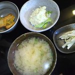 粋宵 - 小鉢×2.漬物,味噌汁