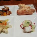CAVO - 前菜盛り合わせ。タコとセロリのマリネ、ワカサギのエスカベッシュ、ラタトゥイユ。