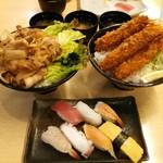 すしはうす - メガ焼肉丼+エビフライ丼5本大盛り+寿司ランチA