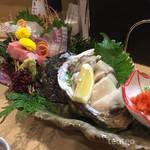 海鮮ダイニング すえの - お刺身三種盛りと徳島県産の岩牡蠣
