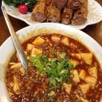 海鮮広東料理 中華料理 昌園 - 名物の湯葉皮春巻き¥1000だっけと 麻婆豆腐¥1000