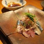 鈴しろ - 秋刀魚の刺身 胡椒醤油