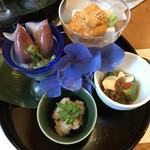 69790323 - 胡麻豆腐雲丹のせ・アボガド&クリームチーズ・梭子魚の卵・蛍烏賊の辛子酢味噌和え