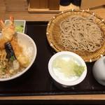 ソバキチ - せいろとミニ天丼のセット1000円税別