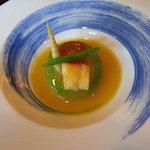 日本料理 対い鶴 - 煮物:冬瓜、芋、筍、南京、海老、隠元。