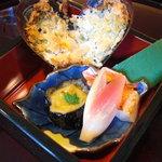 日本料理 対い鶴 - 焼物:ムール貝香草、金目鯛、茄子田楽。