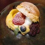 日本料理 対い鶴 - 甘味:小倉カスタード。