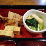 旬菜‐小豆 - 若鶏焼き、青菜ひたし、玉子焼き