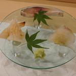 あま木 - 師崎みる貝、こち、胡麻鯖焼き〆