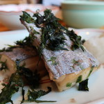 菜な - 太刀魚のあおさ焼きアップ