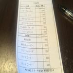 桃の農家カフェ ラペスカ - オーダーシート   記入してレジでお金払います