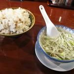 たんや善治郎 - Bランチ牛タン定食(牛タン 4枚) 1,450円 の 麦飯 と ミニテールスープ。麦飯 は 大盛りも お替りも無料サービスです。   2017.07.06
