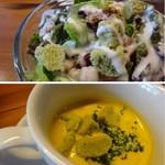 Bar Vita - ◆サラダはリーフメインですけれど「クルトン」やラディシュなども入り、ドレッシングが濃厚でいい味わい。 ◆スープは「かぼちゃの冷製スープ」、カボチャの甘みを感じる品。