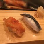 きく鮨 - 赤貝(430円)と小肌(180円)