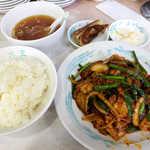 元祖中華つけ麺大王 - 〔毎週水曜〕スタミナ炒め定食(¥550)。濃い味好きの方には、たまらない一品