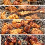尾毛多セコ代 - 味噌とんちゃんの焼き具合の遷移イメージ。1番下の状態のように、かなり焼いても美味しく食べられる。味噌の効果かも知れない。途中、ホッピーのナカ(250円)を追加。