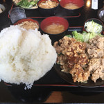 古都 - 唐揚げと焼肉の定食(大盛)