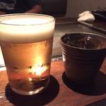 お好み焼き いまり - 生ビール(中)¥650、梅鶴完熟¥700