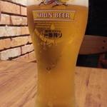 しゃぶり庵 - 生ビールは一番搾り480円