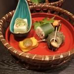 旬菜ふきよせ - 前菜。貝、田楽、茄子など美味い。