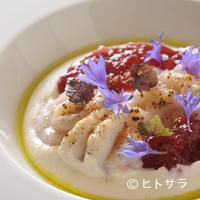 TXOKO - クリーミーな白子の食感に根セロリの苦味がとけ合う『真だち(白子)と根セロリのムースとビーツのジュレ』