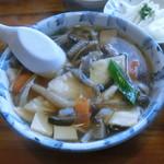 みなと食堂 - ヒラメ漬け丼せんべい汁セット