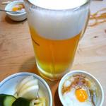 鳥やき 宮川 - ◆生ビール、お通し
