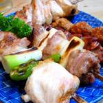 鳥やき 宮川 - ◆焼き鳥盛り合わせ(かしわ焼、相鴨焼、きも焼、つくね焼、手羽焼)