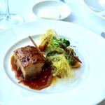 BISTRO MARX - 松阪豚バラ肉のキャラメリゼ 焼ポレンタと皮つきヤングコーン