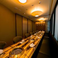 接待や会食など様々なシーンで利用できる完全個室(壁・扉あり)