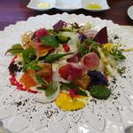 ビストロ ダイア - 先週ミシェルブラスのガルグイユ食べてきたそうで、北海道伊達の野菜を使った30品目の彩りサラダです
