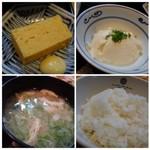 69897278 - ◆玉子焼きは普通。 ◆お豆腐は滑らか食感、できれば生姜が添えられるといいですね。 ◆お味噌汁は合わせ味噌。 ◆ご飯はツヤがあります