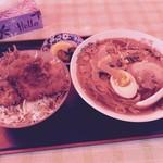 松喜食堂 - Aセット(小盛ソースカツ丼・ラーメン)