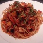 piccolo bar 117 - カジキマグロと茄子のトマトソースパスタ
