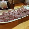 天婦羅 まさちゃん - 料理写真:牛のタタキ 細かくサシが入った柔らかい肉で美味しいです