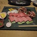 湯布院温泉 御宿 由布乃庄 - 【夕食】豊後牛・地鶏の炭火焼き