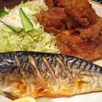 市川食堂 - さばの塩焼き・とり唐セット
