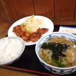 さとううどん - 料理写真:ひと口チキンカツ定食 670円
