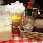 スパゲッティーのパンチョ - スパゲッティのパンチョ 渋谷店 卓上調味料類と粉チーズ