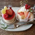 バル・ドゥ・ラパン - 料理写真:ドュルセ・ルージュ、桃のタルト