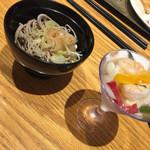 レストラン セリーナ - おろし蕎麦とシーフードカクテル(^∇^)