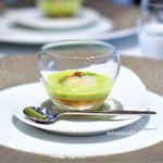 ラドニス - グリーンピースのヴルーテ 甲イカとチョリソーの旨味を添えて